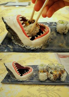 The shark sushi plate. too funny