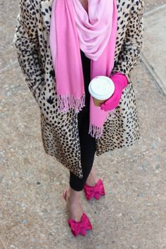 Mixing bright hues with animal print...Style inspiration via Atlantic-Pacific.