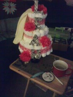 Diaper cake I made for the baby shower