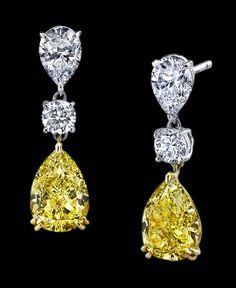 Natural Fancy Yellow Pear shaped diamonds