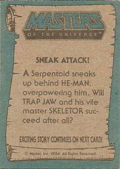 Masters of the Universe trading card #58 back
