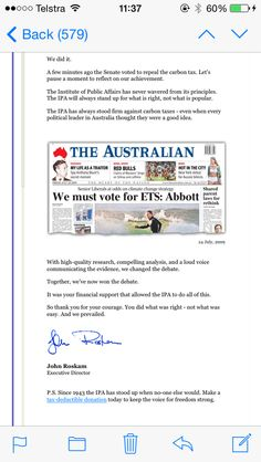 @TheyRLying2Us  PROOF THE IPA ARE RUNNING THIS COUNTRY! An email boasting their success in scrapping the carbon tax! #auspol