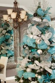 Platinum, teal and white deco mesh for Christmas tree decorating