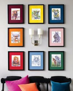 Add color to a gallery wall with mattes