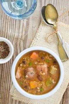 Beans, peas, pork and roots hearty stew. - Dominican chambre