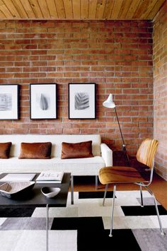 interior design, living rooms, brick wall, urban living, bricks, hous, beach, exposed brick, rugs