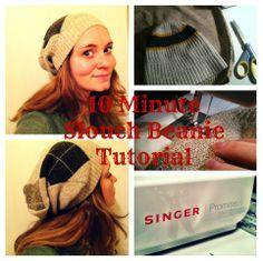 10 min Slouch Beanie Hat Tutorial via Odds n Ems #DIY #crafts