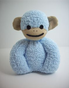 Baby Safe Sock Monkey in Blue and Tan. $20.00, via Etsy.