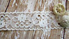Romantic Vintage Floral Ivory Net Lace a little by Alyssabeths, $1.25