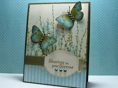 blue butterflies stamp, hero arts cards, butterfli card, sympathy cards, blue butterfli, card making inspiration, diy gifts, handmade gifts, sympathi card