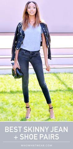 A guide to the shoe styles that look the best with skinny jeans. #style #shoes #denim