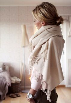 messy bun and comfy shawl