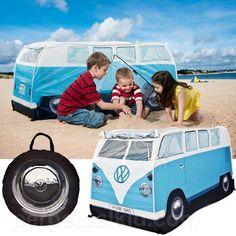 play tents, campers, monster, blue, factori, campervan, kids, vw camper vans, volkswagen