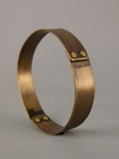 bronze riveted handmade bangle bracelet $35