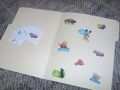 Sticker matching file folder game