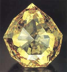 The Florentine Diamond  Weigh: 137.27  Shape: double rose-cut  Color: light yellow