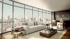 Modern apartment interior with white sofa