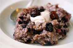baked oatmeal, blueberries and cranberries