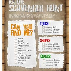 Nature Scavenger Hunt for Kids    http://www.tipjunkie.com/holiday-crafts/easter/games/nature-scavenger-hunt-for-kids/