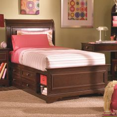 Covington Full Sleigh Bed With Captain Bed Box By Lea Industries
