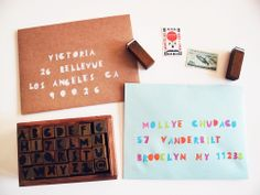 Geometric Alphabet   Number Rubber Stamps in Wooden Box | Paper Pastries