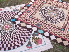 Pink and Brown Medallion Full Size Quilt