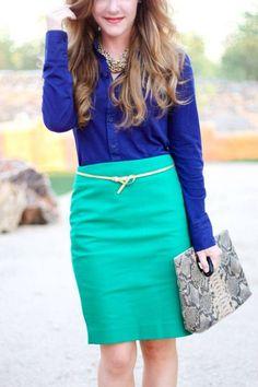 royal blue + turquoise pencil skirt