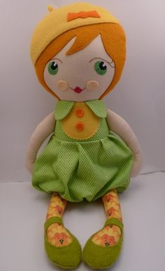 Mona - a handmade cloth doll by Catinka Hinkebein of Berlin, Germany.  Her dolls are fantastic with large bright eyes!