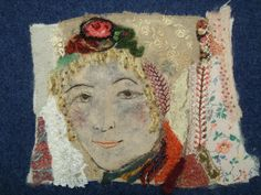 """""""Russian beauty1"""" by Bockfilz Embellished, hand embroidered and beaded fabric print"""