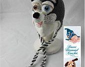 Crochet Pattern 060 - Siberian Husky Earflap Beanie - All Sizes