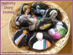 Nativity Story Stones_ Genius!  Mod Podged from Little Golden Book Nativity pages. . .