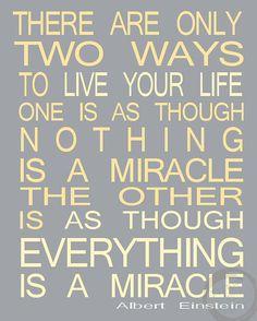 Albert Einstein Quote Miracle Subway Sign Art by PrintsbyChristine, $15.00