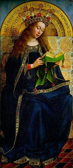 The Virgin Mary ~ one of 24 compartmental scenes on The Ghent Altarpiece, Saint Bavo Cathedral, Ghent, Belgium. The work was begun by Hubert van Eyck and upon his death in 1426 it was completed by his brother Jan van Ecyk - completed in 1432.