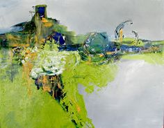 Blues and Greens abstract painting