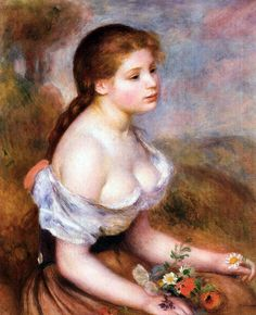 Auguste Renoir - A Young Woman with Daisies, 1889 at New York Metropolitan Art MuseumListed in the book - 50 Impressionism Paintings You Should Know