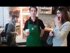 Jimmy Carr working the line for Starbucks (and tweeting too)!