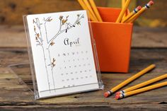 2014 Desk Calendar - Illustrations Sampler Design Variety Femanine Desktop Stand - Buy 2 Get 1 FREE