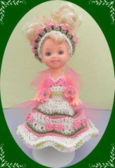 """Crochet Doll Clothes Outfit Flower Girl for 4 ½"""" Kelly Same Sized Dolls 