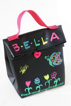 DIY Chalk Cloth Lunch Bag www.skiptomylou.org #diy #lunchbag #backtoschool #sewing