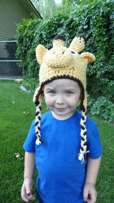 toddler crochet giraffe hat - hmm I want to make this for myself