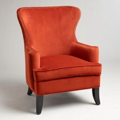 Nutmeg Elliot wingback chair velvet paprika color worldmarket.com