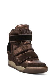 Ash Alex Bis Wedge Sneaker in Wood Ash