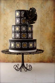 black~n~gold   Cake Heart Custom Cakes Geometric Patterns, Fantasy Tulip, Fantasy Sugar, Cake Ideas, Cake Decor, Black N Gold, Pattern Cake, Black Gold, Wedding Cake