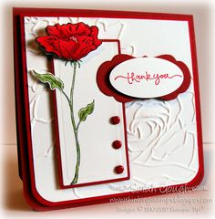 stamp, poppi card, emboss red, cards with poppies, bright red
