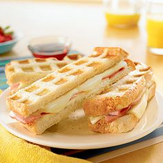 Stuffed Waffle Sticks - A waffle iron gives an interesting look to this easy sandwich that is great for breakfast or snack time. waffl stick, breakfast recipes for kids, easi breakfast, stuf waffl, stuffed waffle sticks, breakfast idea, protein breakfast for kids, easy meals for kids, kid breakfast