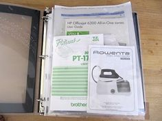Use a 3-ring binder with plastic sheet protectors to store instructions, warranties and CDs for the computer, printer and other accessories.