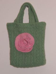 Soft Apple Green shoulder bag with Large Pink flower