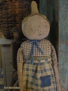 Fat Hen Farm - Primitive Rag Doll - Early Blue Homespun - Pumpkin ...She is handmade by Jodi Parkes...She is ADORABLE and she is mine