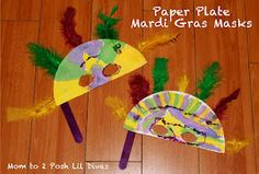 Easy Paper Plate Mardi Gras Masks & Pancakes! from Mom to 2 Posh Lil Divas