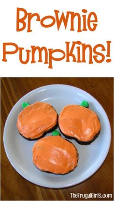 How to Make Brownie Pumpkins! ~ from TheFrugalGirls.com #pumpkin #brownies